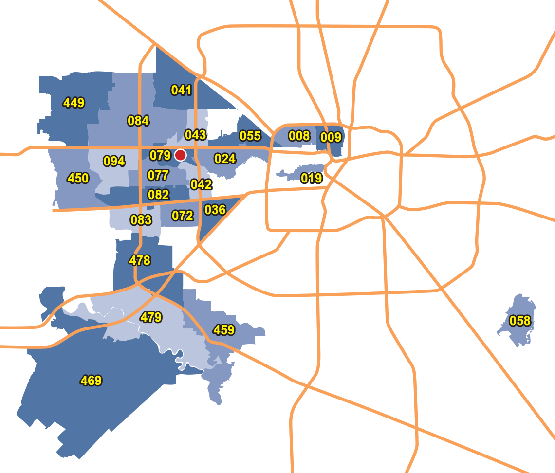 Houston map with highlighted zip code areas
